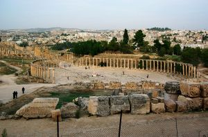 The Forum of Jerash, in Jordan. a forum was a gathering place of great social significance, and often the scene of diverse activities, including political discussions and debates, rendezvous, meetings, et cetera. This file is licensed under the Creative Commons Attribution 3.0 Unported license. Author Berthold Werner (https://commons.wikimedia.org/wiki/User:Berthold_Werner/Jordanien)